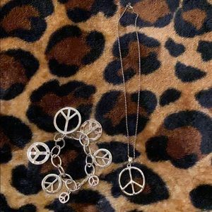 Jewelry - Peace sign bracelet and necklace